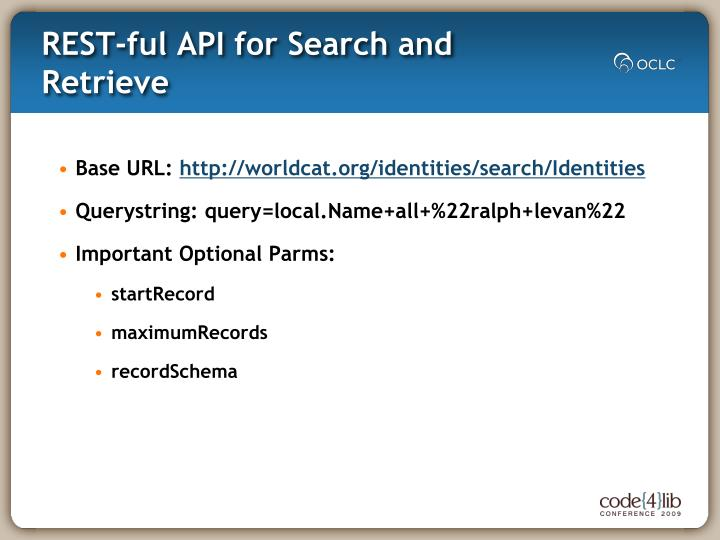 Rest ful api for search and retrieve