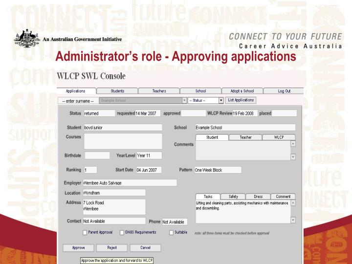 Administrator's role - Approving applications
