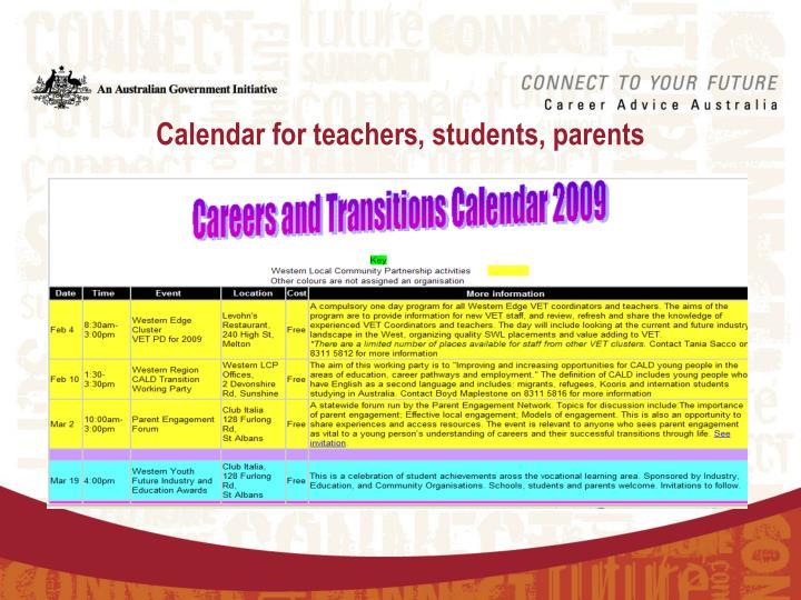 Calendar for teachers, students, parents