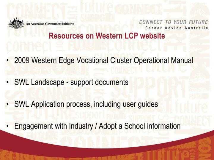 Resources on western lcp website