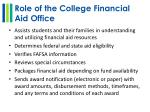 role of the college financial aid office