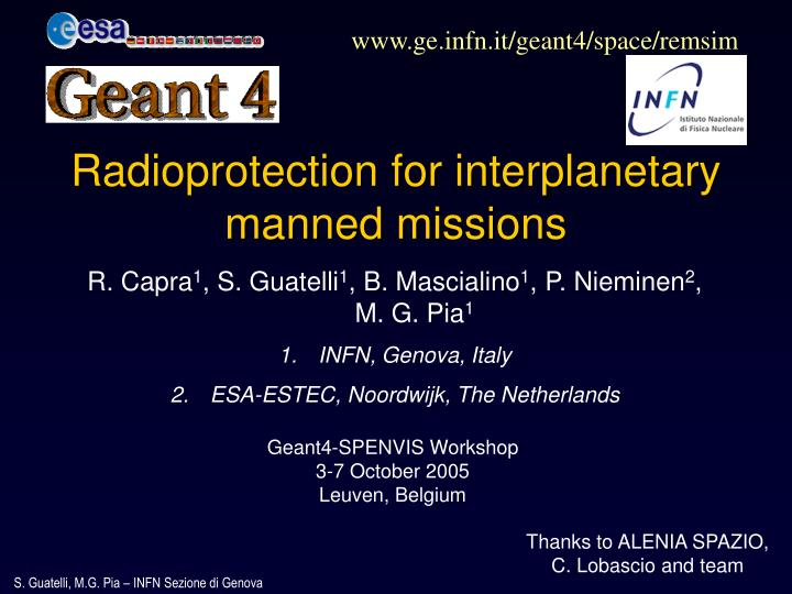 radioprotection for interplanetary manned missions n.