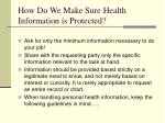 how do we make sure health information is protected