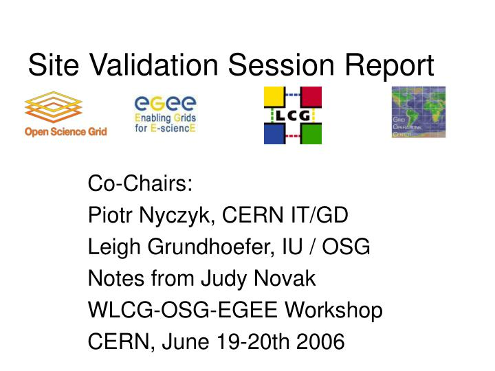 site validation session report n.