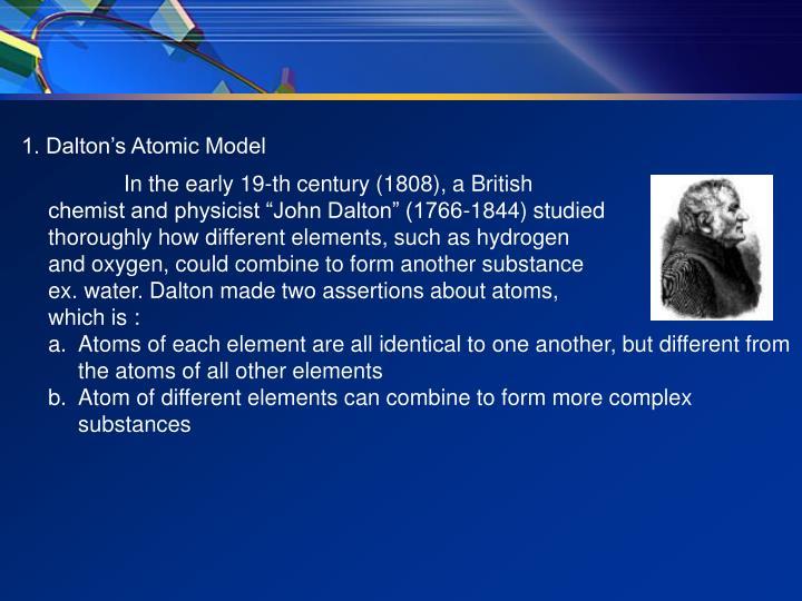 1. Dalton's Atomic Model