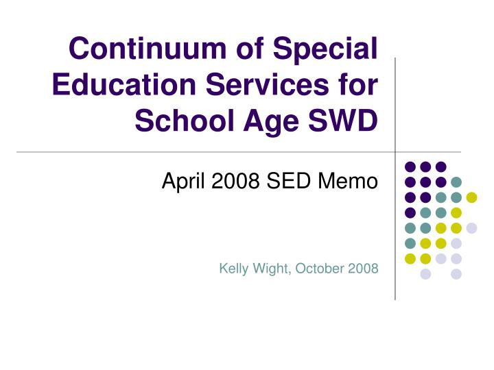 continuum of special education services for school age swd n.