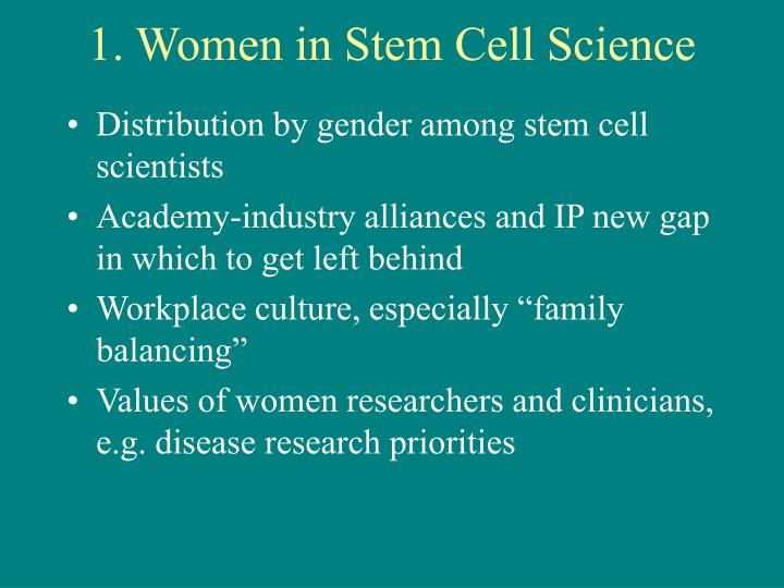 1 women in stem cell science