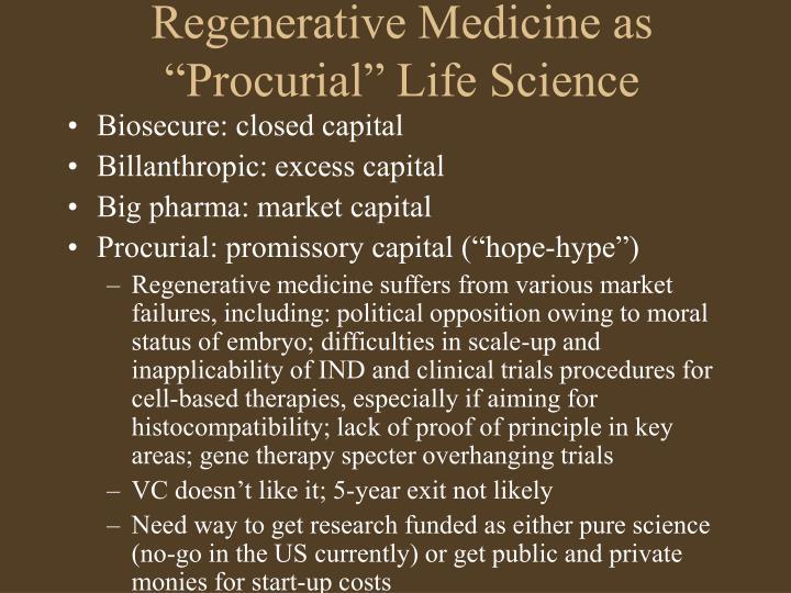 """Regenerative Medicine as """"Procurial"""" Life Science"""