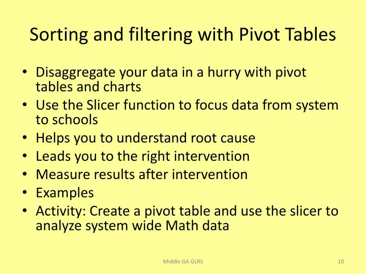 Sorting and filtering with Pivot Tables