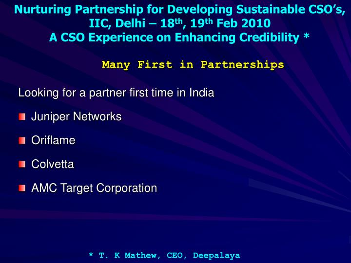 Many First in Partnerships