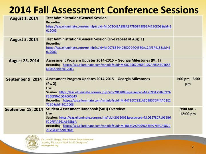 2014 fall assessment conference sessions