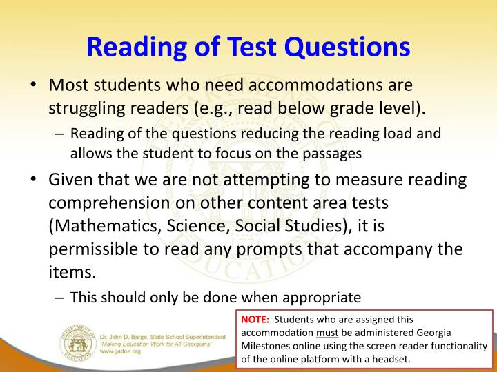 Reading of Test Questions