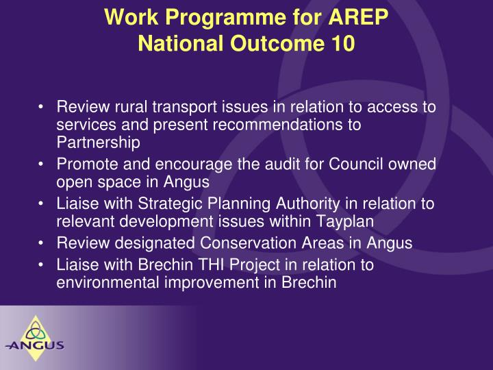 Work Programme for AREP