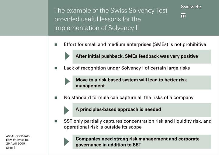 The example of the Swiss Solvency Test provided useful lessons for the implementation of Solvency II