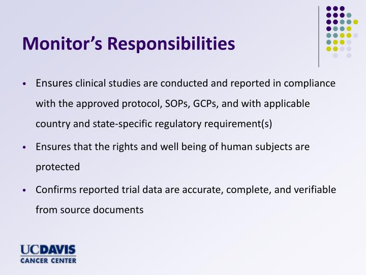 Monitor's Responsibilities