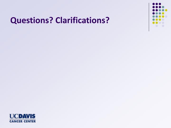 Questions? Clarifications?