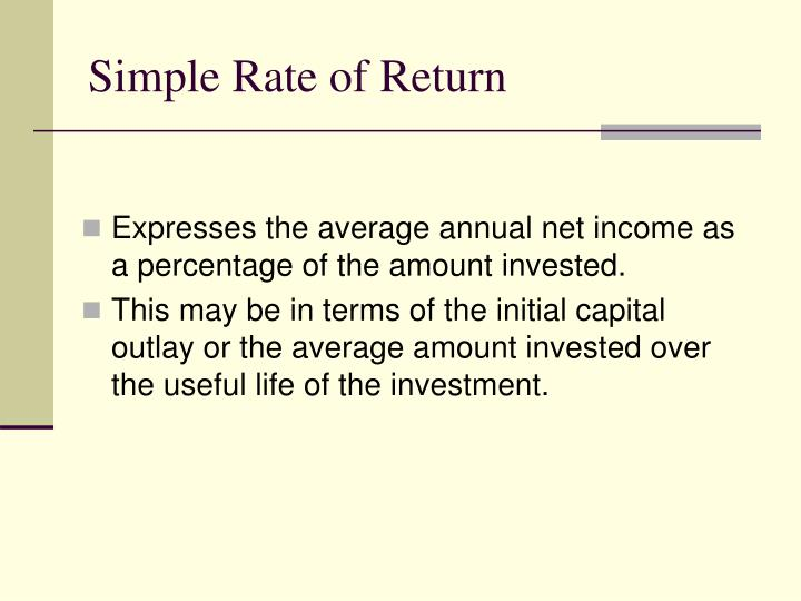Simple Rate of Return