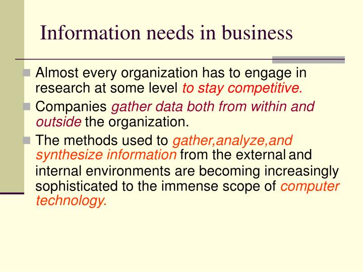 Information needs in business