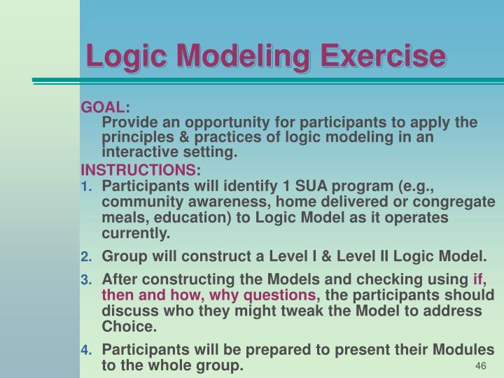 Logic Modeling Exercise