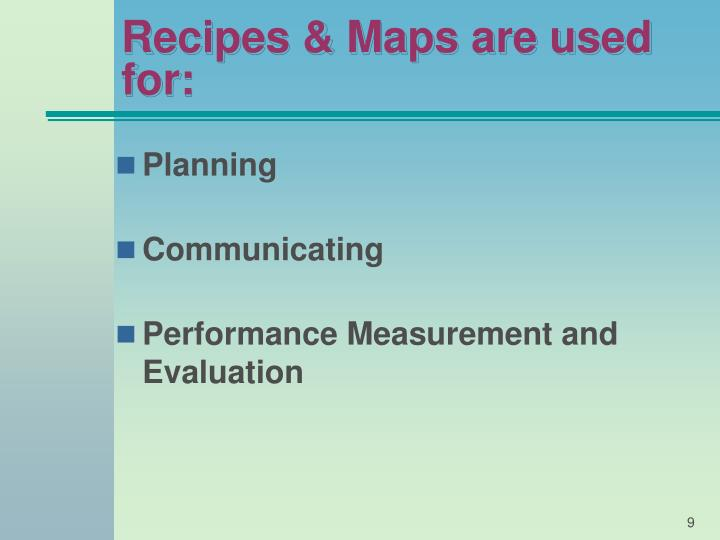 Recipes & Maps are used for: