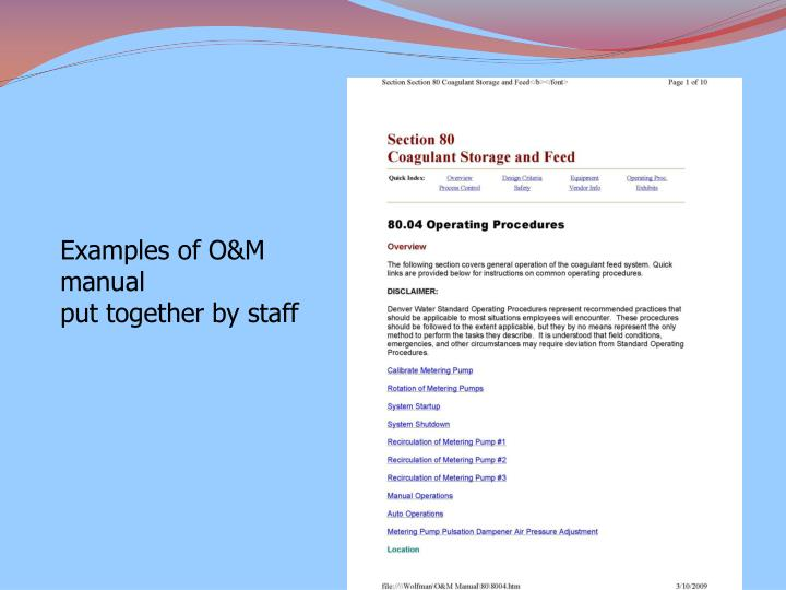 Examples of O&M manual
