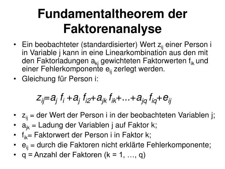 Fundamentaltheorem der Faktorenanalyse