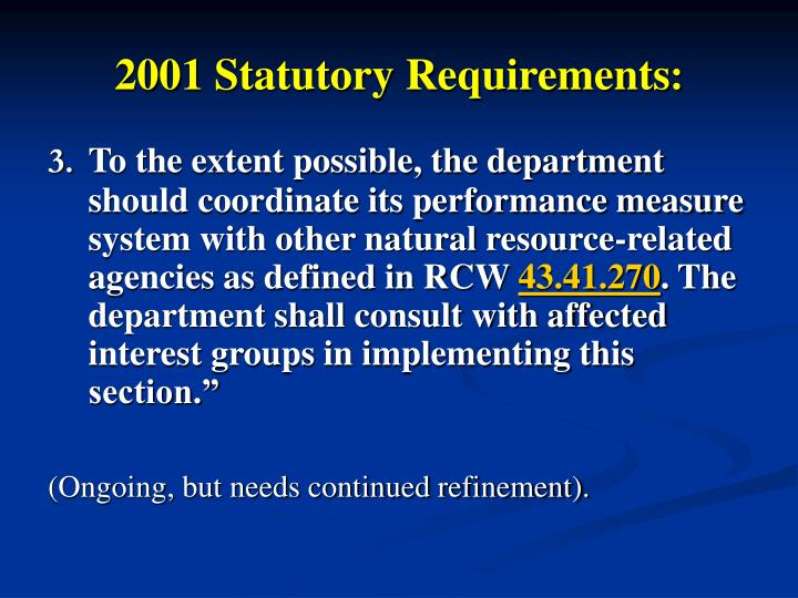 2001 Statutory Requirements