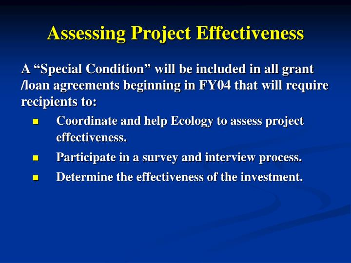 Assessing Project Effectiveness