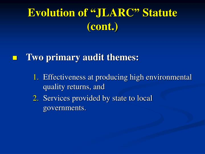 Evolution of jlarc statute cont