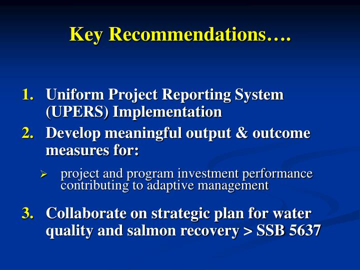 Key Recommendations….