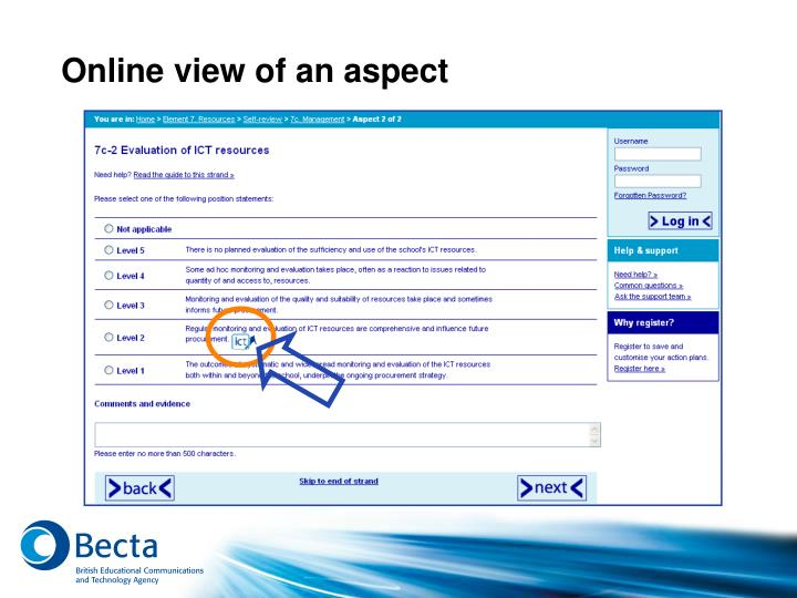 Online view of an aspect
