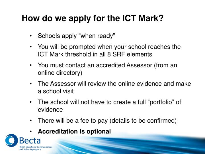 How do we apply for the ICT Mark?