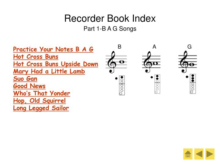 Recorder book index part 1 b a g songs