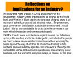 reflections on implications for an industry