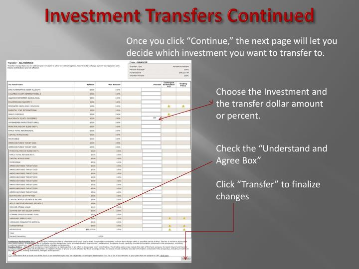 Investment Transfers Continued