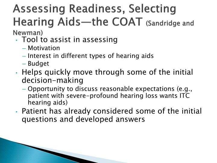 Assessing Readiness, Selecting Hearing Aids—the COAT