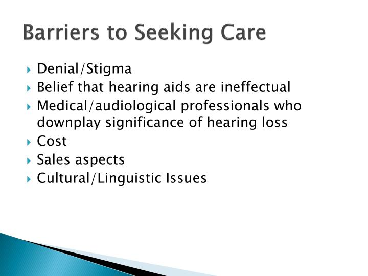 Barriers to Seeking Care