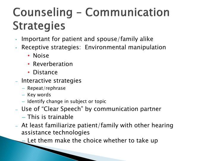 Counseling – Communication Strategies