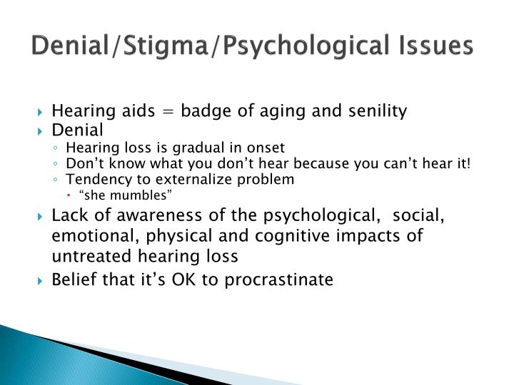 Denial/Stigma/Psychological Issues