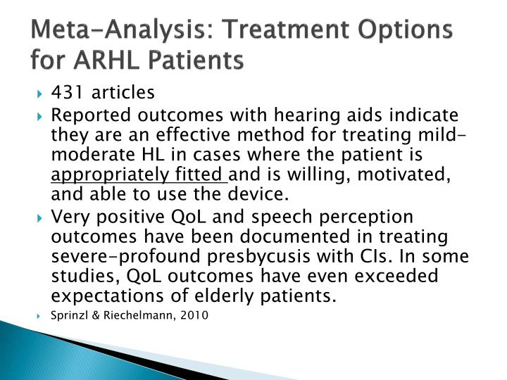 Meta-Analysis: Treatment Options for ARHL Patients