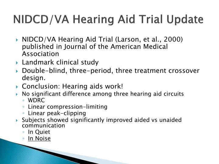 NIDCD/VA Hearing Aid Trial Update