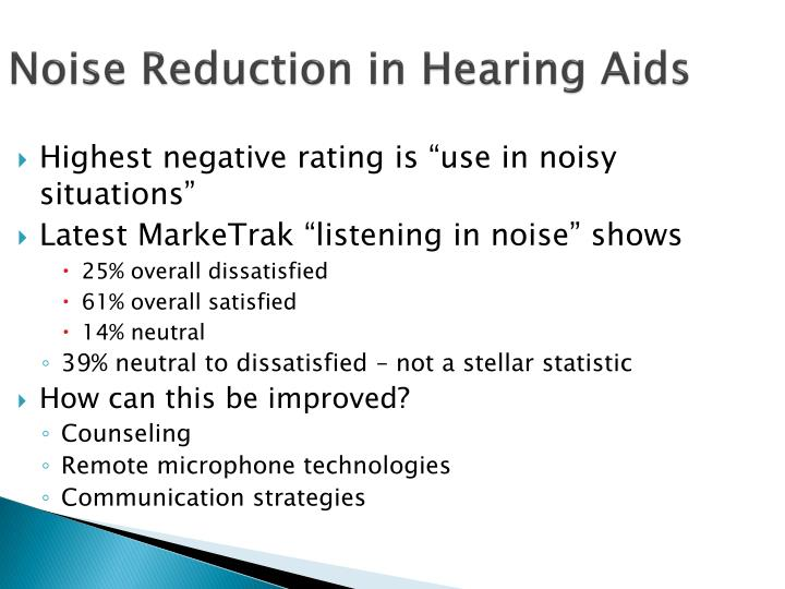 Noise Reduction in Hearing Aids