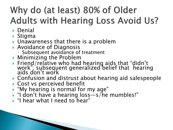 Why do (at least) 80% of Older Adults with Hearing Loss Avoid Us?