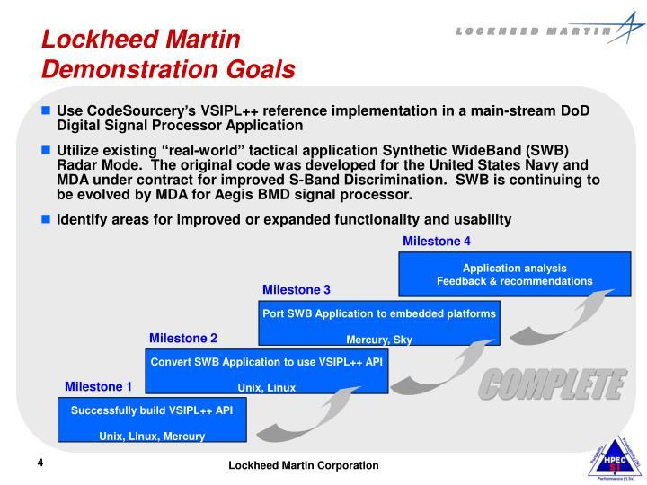 Lockheed Martin  Demonstration Goals