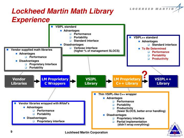 Lockheed Martin Math Library Experience