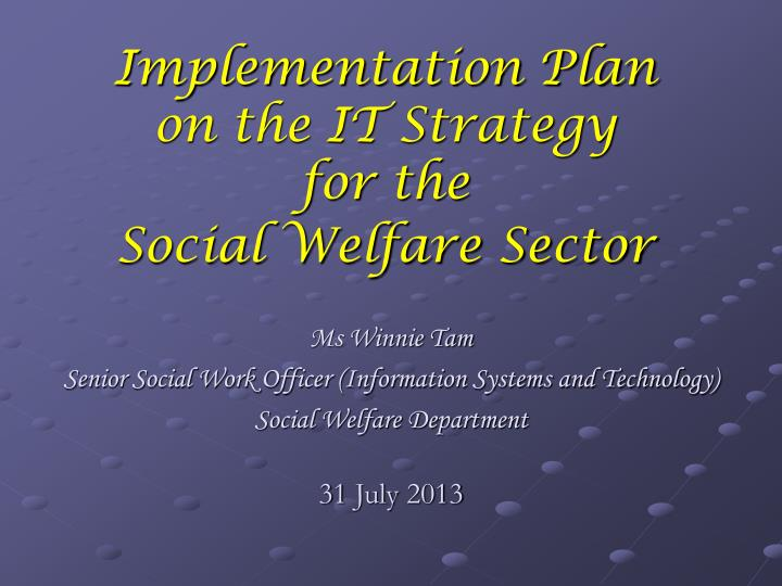 implementation plan on the it strategy for the social welfare sector n.