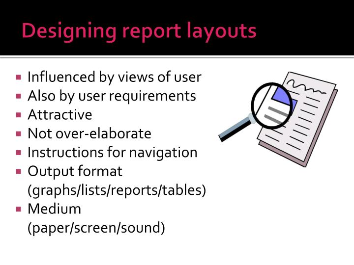 Designing report layouts