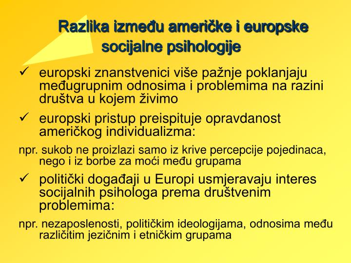 Razlika između američke i europske socijalne psihologije