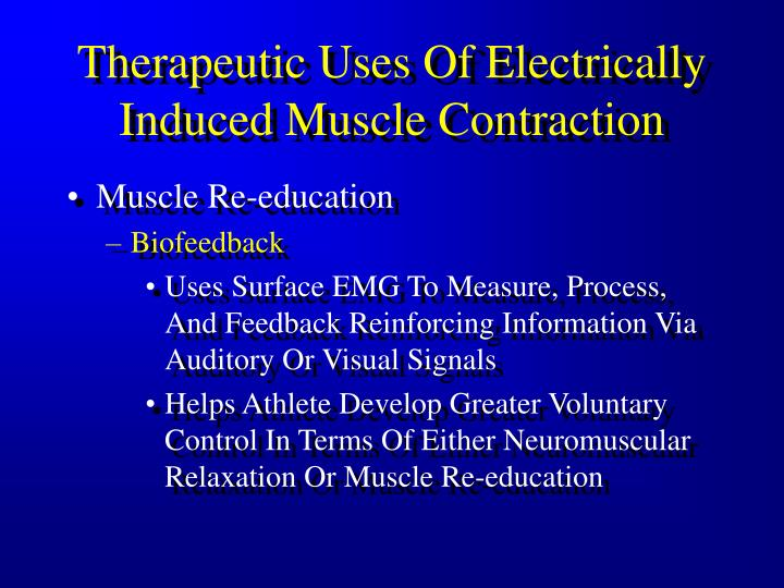 Therapeutic Uses Of Electrically Induced Muscle Contraction