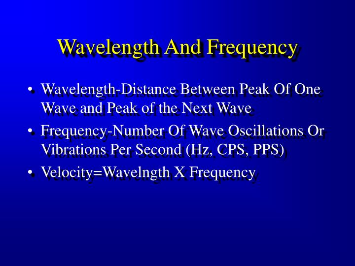 Wavelength And Frequency
